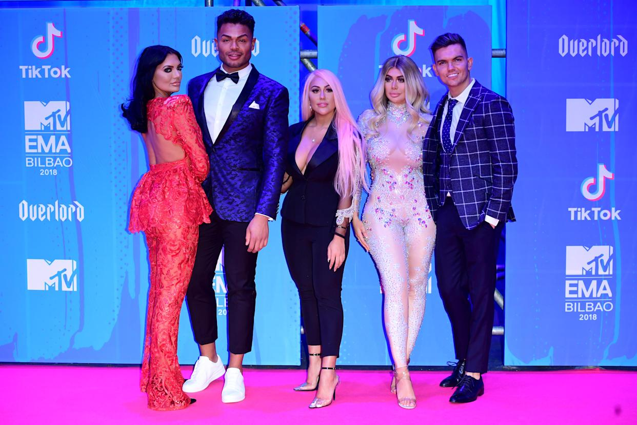 Abbie Holborn, Nathan Henry, Sophie Kasaei, Chloe Ferry and Sam Gowland of Geordie Shore attending the MTV Europe Music Awards 2018 held at the Bilbao Exhibition Centre, Spain. (Photo by Ian West/PA Images via Getty Images)