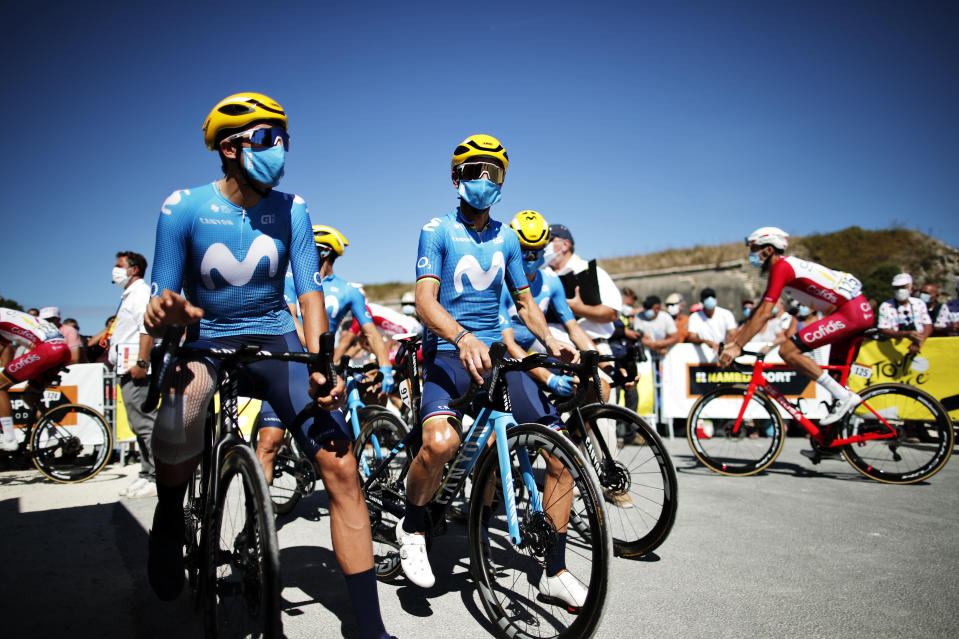 SAINT-MARTIN-DE-RE, FRANCE - SEPTEMBER 08: Start / Marc Soler Gimenez of Spain and Movistar Team / Alejandro Valverde Belmonte of Spain and Movistar Team / Mask / Covid safety measures / Team Presentation / during the 107th Tour de France 2020, Stage 10 a 168,5km stage from ile d'Oleron - Le Chateau d'Oleron to ile de Re - Saint Martin de Re / #TDF2020 / @LeTour / on September 08, 2020 in Saint Martin de Re, France. (Photo by Benoit Tessier - Pool/Getty Images)