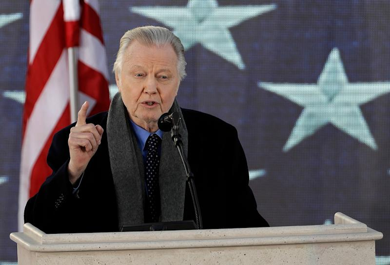 "Actor Jon Voight speaks during a pre-Inaugural ""Make America Great Again! Welcome Celebration"" at the Lincoln Memorial in Washington, Thursday, Jan. 19, 2017. (AP Photo/David J. Phillip)"