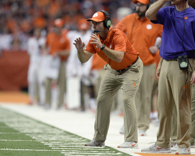 "Swinney said his program doesn't tolerate that type of behavior and doesn't ""think you'll have any more problem with that."" (AP Photo/Adrian Kraus)"