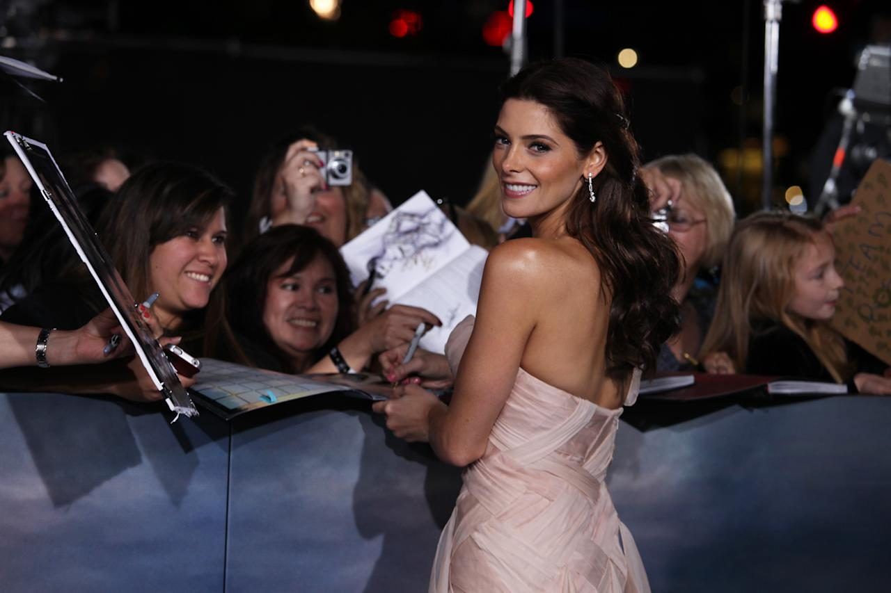"Ashley Greene greets fans at ""The Twilight Saga: Breaking Dawn - Part 2"" Los Angeles premiere at the Nokia Theatre L.A. Live on November 12, 2012 in Los Angeles, California."