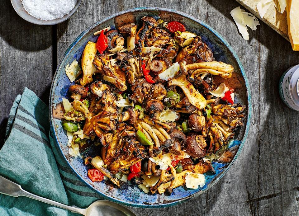 """<p>Keep the mushrooms whole or in large pieces (so they don't fall through the grate), and you will be rewarded with burnished, concentrated mushroom goodness. </p>   <p><em>Like this</em> Bon Appétit <em>recipe? There are plenty more where this came from.</em> <a href=""""https://subscribe.bonappetit.com/subscribe/bonappetit/122921?source=HCL_BNA_SUBSCRIBE_LINK_0_EPICURIOUS_ZZ"""" rel=""""nofollow noopener"""" target=""""_blank"""" data-ylk=""""slk:Subscribe to the magazine here!"""" class=""""link rapid-noclick-resp""""><em>Subscribe to the magazine here!</em></a></p> <a href=""""https://www.epicurious.com/recipes/food/views/grilled-mushroom-antipasto-salad?mbid=synd_yahoo_rss"""" rel=""""nofollow noopener"""" target=""""_blank"""" data-ylk=""""slk:See recipe."""" class=""""link rapid-noclick-resp"""">See recipe.</a>"""