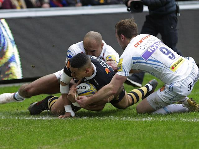 Exeter suffer third straight Aviva Premiership defeat as Wasps cling on