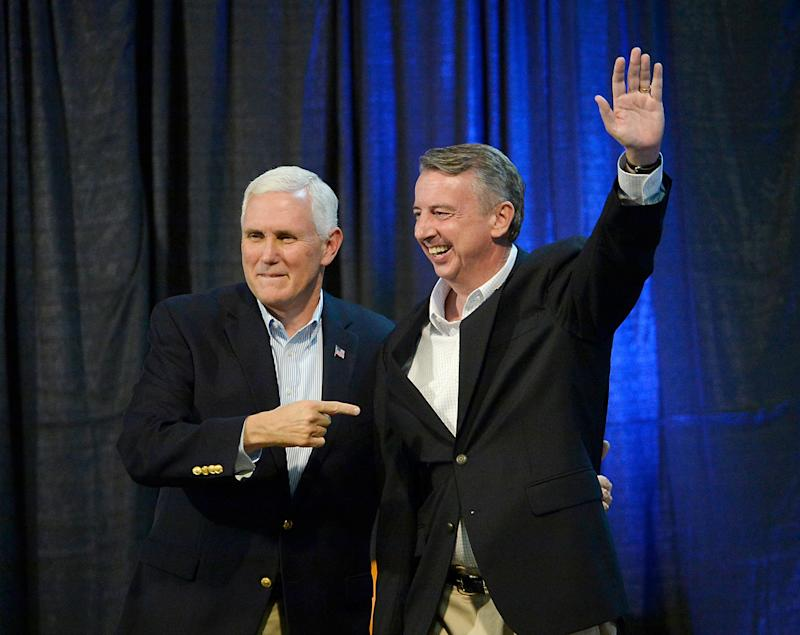 Vice President Mike Pence joined fellow Republican Ed Gillespie at a rally in Abingdon, Virginia, on Oct. 14, 2017. Gillespie decided not to invite President Donald Trump to campaign for him. (Sara D. Davis/Getty Images)