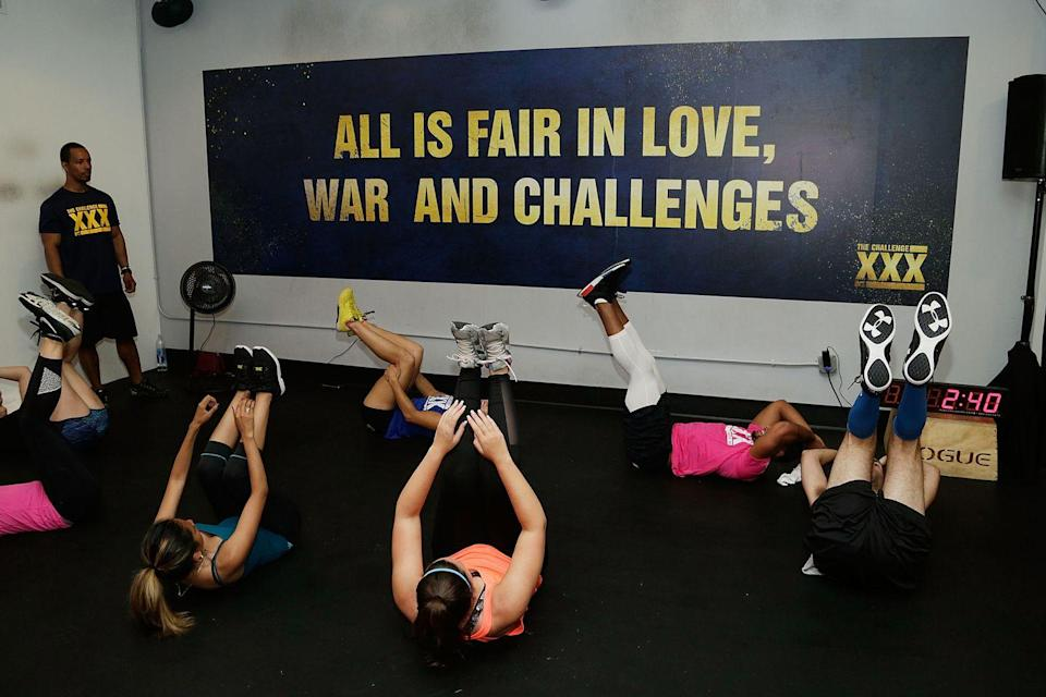 """<p>The top priority for most contestants is training for competitions, so there's always a gym at the house. """"It just such a strong device for them to go and work out and to become physically fit so they can continue to compete and win,"""" producer Dan Caster told <em><a href=""""https://www.eonline.com/news/1016548/surprise-bromances-contraband-and-playing-favorites-revealing-every-secret-of-mtv-s-the-challenge"""" rel=""""nofollow noopener"""" target=""""_blank"""" data-ylk=""""slk:E! News"""" class=""""link rapid-noclick-resp"""">E! News</a>.</em></p>"""