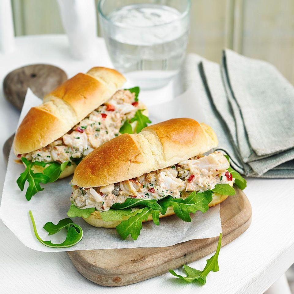 """<p>We've used a mixture of white and brown crab meat for flavour, but you can use just white meat if you prefer</p><p><strong>Recipe: <a href=""""https://www.goodhousekeeping.com/uk/food/recipes/a563383/crab-brioches/"""" rel=""""nofollow noopener"""" target=""""_blank"""" data-ylk=""""slk:Crab brioche"""" class=""""link rapid-noclick-resp"""">Crab brioche </a></strong></p>"""