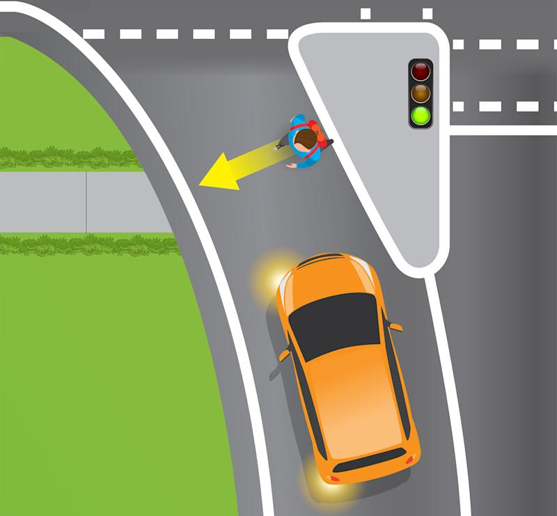 A graphic shows a pedestrian crossing the road at a slip lane as a car approaches. Source: Department of Transport and Main Roads Queensland