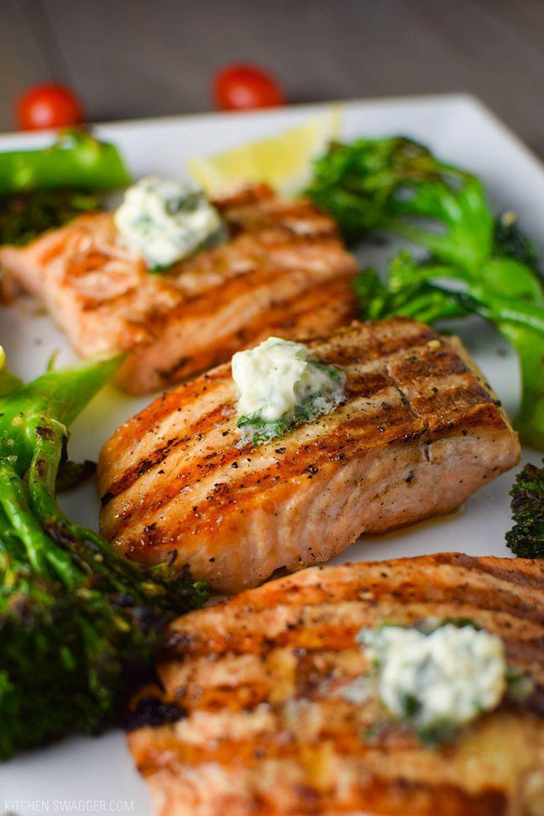 """<p>It's healthy, hearty, and all-around delicious. We've bookmarked this salmon recipe for easy weeknight dinners.</p><p><strong>Get the recipe at <a href=""""https://kitchenswagger.com/easy-grilled-salmon-with-basil-butter-broccolini-recipe/"""" rel=""""nofollow noopener"""" target=""""_blank"""" data-ylk=""""slk:Kitchen Swagger"""" class=""""link rapid-noclick-resp"""">Kitchen Swagger</a>.</strong></p><p><strong><strong><strong><strong><strong><a class=""""link rapid-noclick-resp"""" href=""""https://go.redirectingat.com?id=74968X1596630&url=https%3A%2F%2Fwww.walmart.com%2Fip%2FPioneer-Woman-Slotted-Turner%2F910200136&sref=https%3A%2F%2Fwww.thepioneerwoman.com%2Ffood-cooking%2Fmeals-menus%2Fg32188535%2Fbest-grilling-recipes%2F"""" rel=""""nofollow noopener"""" target=""""_blank"""" data-ylk=""""slk:SHOP KITCHEN TOOLS"""">SHOP KITCHEN TOOLS</a></strong></strong></strong></strong><br></strong></p>"""