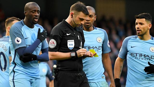 The Citizens' players were incensed after the awarding of a penalty eventually converted by James Milner and turned on referee Michael Oliver