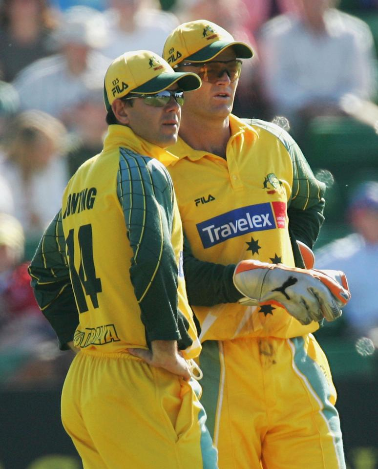 Ricky Ponting (left) and Adam Gilchrist of Australia talk tactics during the NatWest Series One Day International between Australia and Bangladesh played at Sophia Gardens on June 18, 2005 in Cardiff, United Kingdom  (Photo by Hamish Blair/Getty Images)