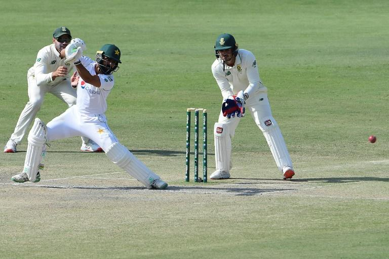 Fawad Alam (C) scored a century for Pakistan in Karachi