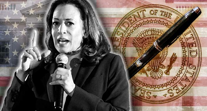 Kamala Harris. (Photo illustration: Yahoo News; photos: Michael Brochstein/SOPA Images/LightRocket via Getty Images, AP (2), Larry Downing/Reuters)