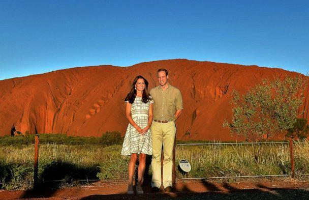 PHOTO: Catherine, Duchess of Cambridge and Prince William, Duke of Cambridge pose in front of Uluru, also known as Ayers Rock, on April 22, 2014, in Ayers Rock, Australia. (Anthony Devlin/Pool via Getty Images, FILE)