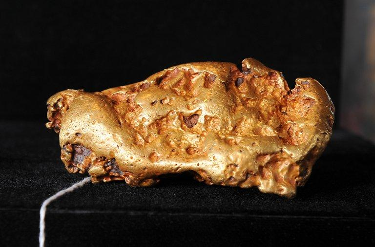 An Australian gold nugget at an auction preview on May 6, 2010 in Los Angeles