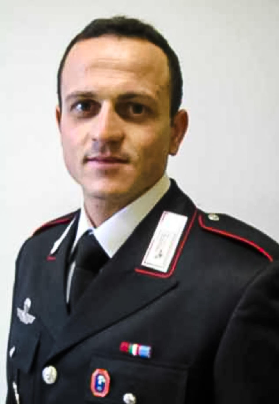 This picture released by the Italian Carabinieri Press Office on Monday, Feb. 22, 2021, shows late Carabinieri officer Vittorio Iacovacci who was killed in an ambush on Monday, together with the Italian Ambassador to Congo Luca Attanasio, while they were traveling in a U.N. convoy in Nyiragongo, North Kivu province, Congo Monday, Feb. 22, 2021. Their Congolese driver was killed too in an area that is home to myriad rebel groups, the Foreign Ministry and local people said. (Italian Carabinieri Press Office via AP)