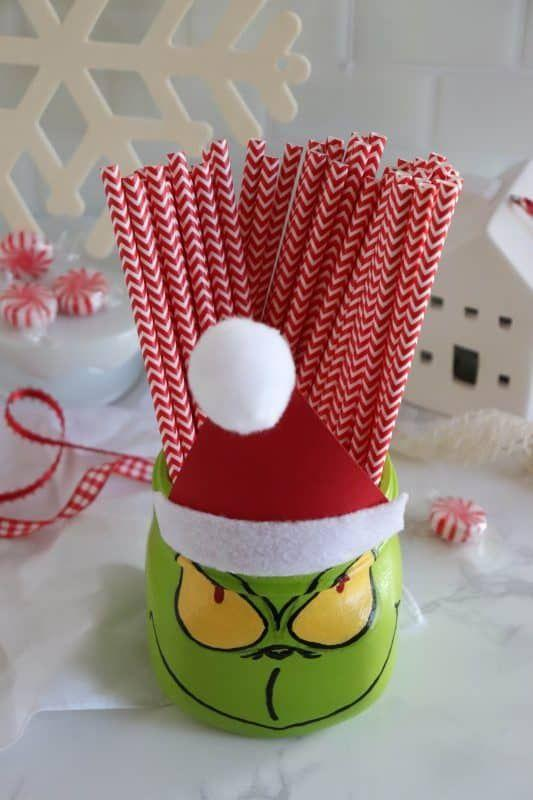 """<p>He might be """"a mean one,"""" but The Grinch makes a great Mason jar project for mom to do with older kids, and a lovable catch-all once his paint dries.</p><p><strong>Get the tutorial at <a href=""""https://homemadeheather.com/mason-jar-grinch-craft/"""" rel=""""nofollow noopener"""" target=""""_blank"""" data-ylk=""""slk:Homemade Heather"""" class=""""link rapid-noclick-resp"""">Homemade Heather</a>.</strong></p><p><a class=""""link rapid-noclick-resp"""" href=""""https://www.amazon.com/Gluerious-Sticks-Crafts-School-Repairs/dp/B08FTHWC94/ref=sr_1_1_sspa?tag=syn-yahoo-20&ascsubtag=%5Bartid%7C10050.g.2132%5Bsrc%7Cyahoo-us"""" rel=""""nofollow noopener"""" target=""""_blank"""" data-ylk=""""slk:SHOP HOT GLUE GUNS"""">SHOP HOT GLUE GUNS</a><br></p>"""