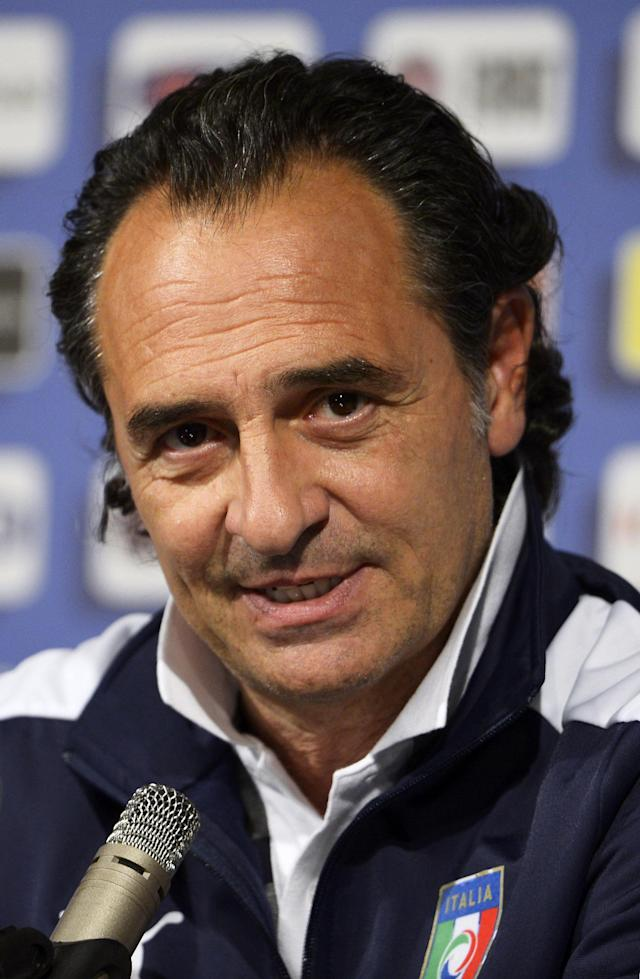 KRAKOW, POLAND - JUNE 29: Italy head coach Cesare Prandelli speaks during a press conference ahead of the UEFA EURO 2012 Final against Spain at Casa Azzurri on June 29, 2012 in Krakow, Poland. (Photo by Claudio Villa/Getty Images)