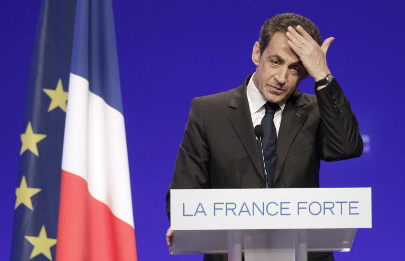 FILE - In this April 28, 2012 file photo, France's President  and candidate for re-election in 2012, Nicolas Sarkozy, gestures as he delivers a speech during a campaign meeting in Cournon-d'Auvergne, central France. The dynamic French leader made his mark on the world arena but let down voters at home, and may well be out of a job within days. Not a single poll throughout the campaign has predicted that Sarkozy will win re-election. (AP Photo / Michel Euler, File)