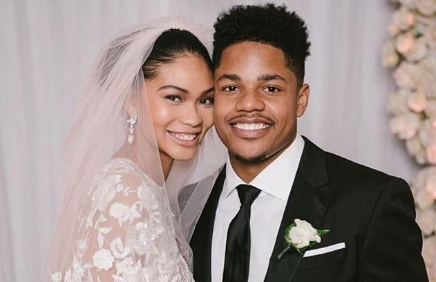 "Model Chanel Iman and Giants wide receiver <a class=""link rapid-noclick-resp"" href=""/nfl/players/29274/"" data-ylk=""slk:Sterling Shepard"">Sterling Shepard</a> got married, and <a class=""link rapid-noclick-resp"" href=""/nfl/players/27540/"" data-ylk=""slk:Odell Beckham Jr."">Odell Beckham Jr.</a> made an appearance as a groomsman. (Instagram/@chaneliman)"