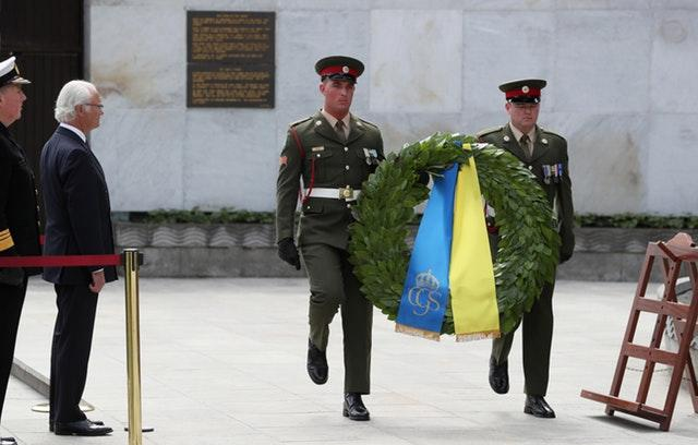 King Carl XVI Gustaf during the wreath laying ceremony in Dublin