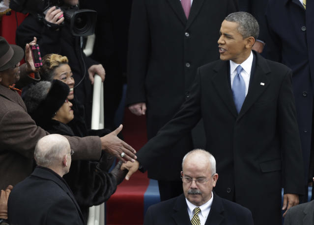 President Barack Obama arrives for his ceremonial swearing-in at the U.S. Capitol during the 57th Presidential Inauguration in Washington, Monday, Jan. 21, 2013. (AP Photo/Pablo Martinez Monsivais)