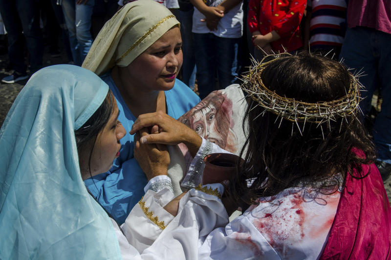 Christians act out the Stations of the Cross in Colima, Mexico. (Leonardo Montecillo / Agencia Press South via Getty Images)