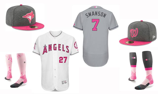 Jerseys, caps and socks for Mother's Day. (MLB)