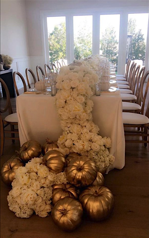 No longer exactly the baby of the family, Kylie hosted her first Thanksgiving in 2016, decorating her home in Calabasas in white and gold, including hundreds of roses.