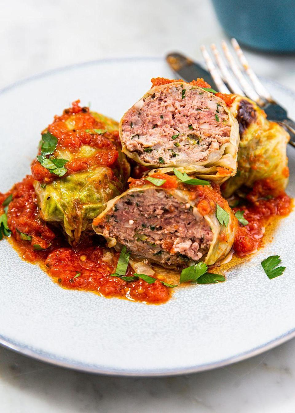 """<p>Low carb and incredibly flavorful!</p><p>Get the recipe from <a href=""""https://www.delish.com/cooking/recipe-ideas/a30779229/keto-stuffed-cabbage-recipe/"""" rel=""""nofollow noopener"""" target=""""_blank"""" data-ylk=""""slk:Delish."""" class=""""link rapid-noclick-resp"""">Delish. </a></p>"""