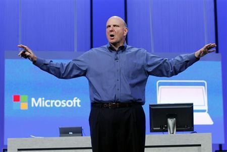 """Microsoft CEO Ballmer gestures during his keynote address at the Microsoft """"Build"""" conference in San Francisco"""