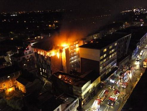 Every floor of the private student accommodation was affected by the blaze, fire chiefs said: London Fire Brigade