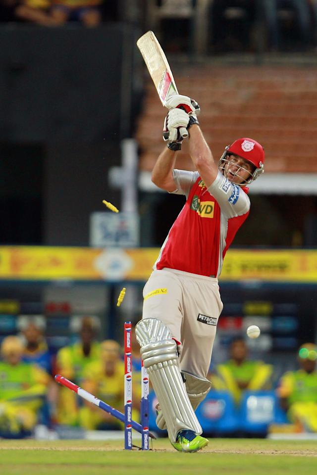 Luke Pomersbach is bowled by Mohit Sharma during match 45 of the Pepsi Indian Premier League between The Chennai Super Kings and the Kings XI Punjab held at the MA Chidambaram Stadium in Chennai on the 2nd May 2013. Photo by Jacques Rossouw-IPL-SPORTZPICS    .. .Use of this image is subject to the terms and conditions as outlined by the BCCI. These terms can be found by following this link:..https://ec.yimg.com/ec?url=http%3a%2f%2fwww.sportzpics.co.za%2fimage%2fI0000SoRagM2cIEc&t=1490280349&sig=_mSKv8BQ2mZTB0oJ18Kbvg--~C