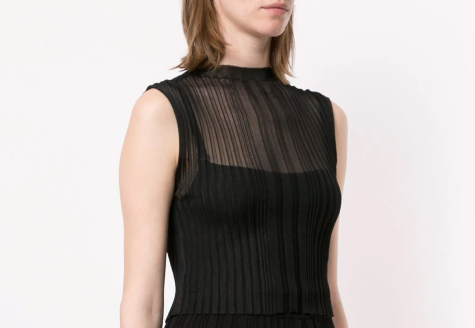 model wearing sheer Dion Lee top