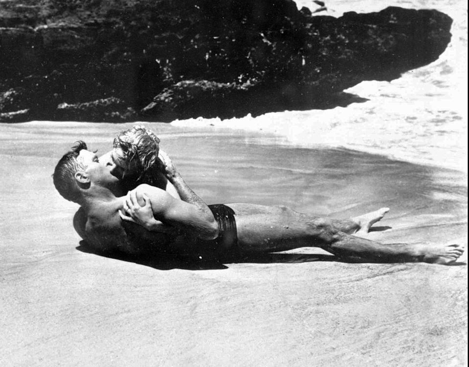 "Burt Lancaster and Deborah Kerr's infamous kiss on the beach was an iconic shot from ""From Here to Eternity."""