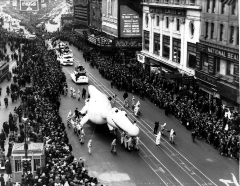 1933 - The Macy's Thanksgiving Day Parade makes its way down Broadway in New York City on Nov. 30, 1933. The Macy's Thanksgiving Day Parade marched through New York City for an 87th time on Thursday, Nov. 28, 2013. (AP Photo/File)