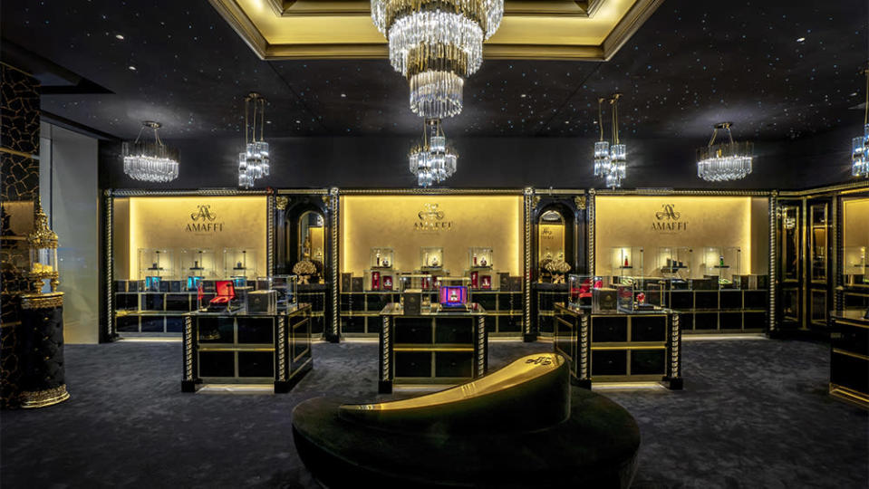The opulent interior of Amaffi's New York flagship.