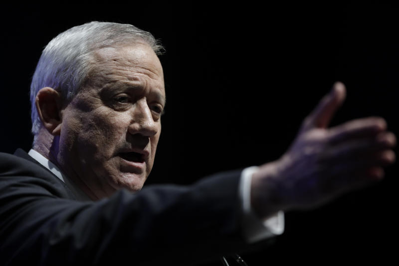 Benny Gantz, Blue and White party leader, speaks during an election campaign event of his Blue and White party in Haifa , Israel, Tuesday, Feb. 11, 2020. (AP Photo/Sebastian Scheiner)