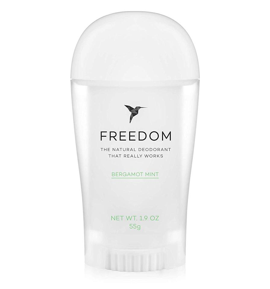"""I won't lie, I swear by deodorants with clinical protection (read <em>chemicals</em>). As someone who stress-sweats at the drop of a hat, I need all the help I can get to keep the funk at bay. However, I was pleasantly surprised by Freedom's natural deodorant and deodorant spray. I used the deodorant before my Pilates class and used the spray as a refresher afterward—not a side-eye in sight! —<em>Khaliha Hawkins, producer</em> $17, Amazon. <a href=""""https://www.amazon.com/Freedom-All-Natural-Aluminum-Deodorant-Bergamot/dp/B01GW3N6ZE"""">Get it now!</a>"""