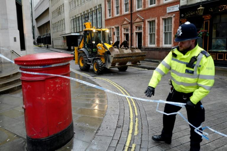 The area was cordoned off and staff in some nearby offices who arrived for work were later evacuated