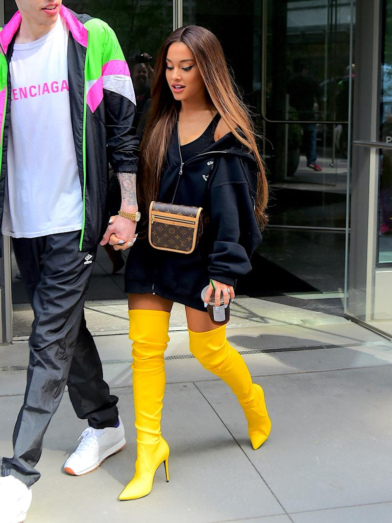 Ariana Grande and Fiance Pete Davidson were spotted together for the first time in almost a month, since Pete was upstate working on a new movie. The couple looked extremely happy as they left their shared NYC Apartment for the VMA Rehearsals. Pete finally had the chance to meet Ariana's Mom and Grandma who joined them for the outing, along with Machine Gun Kelly. Ariana left her signature ponytail behind, opting for long flowing locks that danced in the breeze in New York, NY.Pictured: Ariana Grande,Pete DavidsonRef: SPL5016950 180818 NON-EXCLUSIVEPicture by: 247PAPS.TV / SplashNews.comSplash News and PicturesLos Angeles: 310-821-2666New York: 212-619-2666London: 0207 644 7656Milan: +39 02 4399 8577Sydney: +61 02 9240 7700photodesk@splashnews.comWorld Rights, No Portugal Rights
