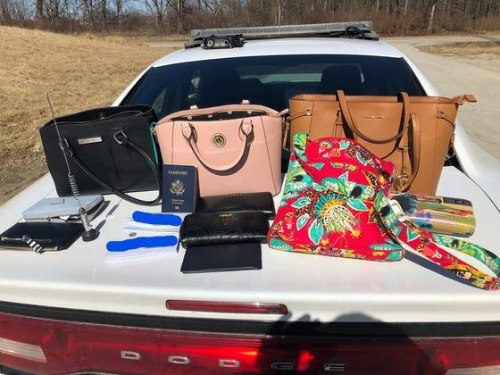 Stolen items seized from a car involved in a 2019 police chase in Indiana. The women in the car were allegedly Felony Lane Gang members who had taunted police on Instagram.