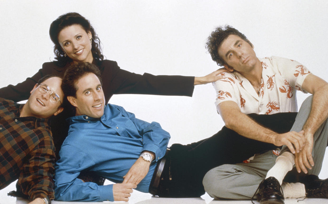 SEINFELD -- Season 6 -- Pictured: (front, l-r) Jason Alexander as George Costanza, Jerry Seinfeld as Jerry Seinfeld, (back, l-r) Julia Louis-Dreyfus as Elaine Benes, Michael Richards as Cosmo Kramer  (Photo by George Lange/NBC/NBCU Photo Bank via Getty Images)