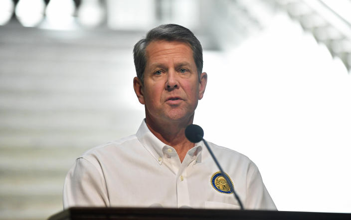Georgia Gov. Brian Kemp speaks to members of the media during his weekly press conference regarding the Coronavirus (COVID-19) pandemic from the Georgia State Capitol on May 07, 2020, in Atlanta, Georgia. (Photo by Austin McAfee/Icon Sportswire via Getty Images)