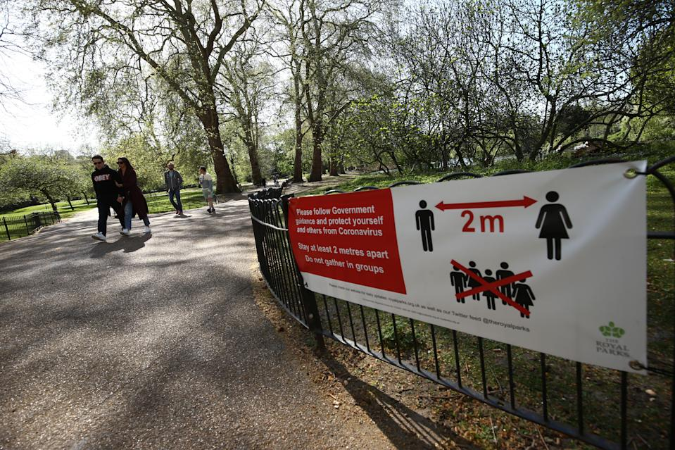 A social distancing notice on display in St James's Park, London, as the UK continues in lockdown to help curb the spread of the coronavirus. (Photo by Yui Mok/PA Images via Getty Images)