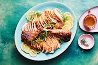 """What's the fastest way possible to roast a turkey for Thanksgiving? Skip the whole turkey: instead, roast bone-in breasts and legs. (If you don't want to <a href=""""https://www.epicurious.com/expert-advice/how-to-quarter-a-chicken-with-scissors-gallery/list?mbid=synd_yahoo_rss"""" rel=""""nofollow noopener"""" target=""""_blank"""" data-ylk=""""slk:butcher a turkey"""" class=""""link rapid-noclick-resp"""">butcher a turkey</a> yourself, you can buy them in individual pieces or have your butcher break a whole bird down for you.) Once you put the pieces in the oven, they cook in about 1 hour and 15 minutes, and are so much faster and easier to carve and serve. <a href=""""https://www.epicurious.com/recipes/food/views/quick-thanksgiving-turkey-with-lemon-garlic-butter?mbid=synd_yahoo_rss"""" rel=""""nofollow noopener"""" target=""""_blank"""" data-ylk=""""slk:See recipe."""" class=""""link rapid-noclick-resp"""">See recipe.</a>"""