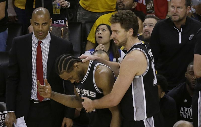 Kawhi Leonard's injury casts a pall over the Western Conference finals. (AP)