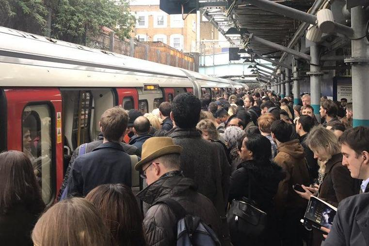 Delays: Commuters faced journeys of more than two hours on Monday morning: @SJNeve - Daily Mail