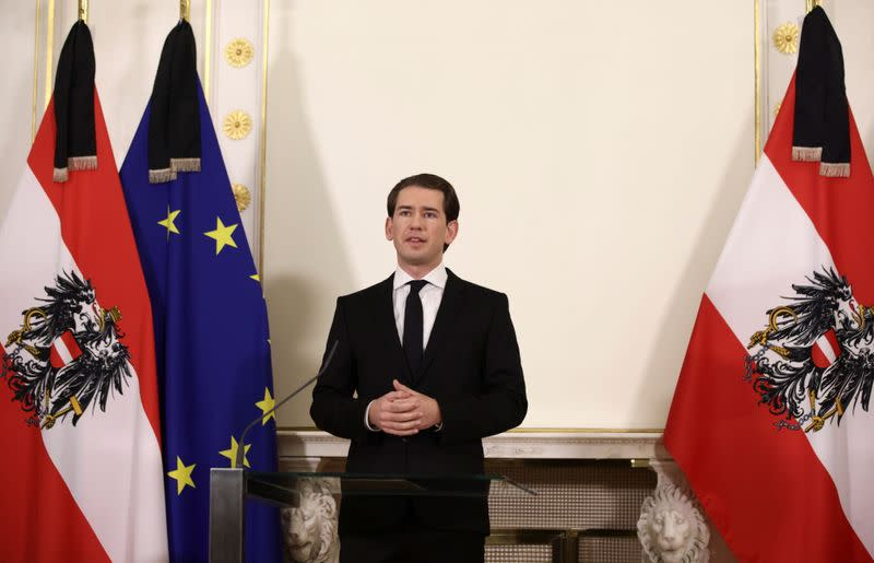 Austria's Chancellor Sebastian Kurz news conference after exchanges of gunfire in Vienna