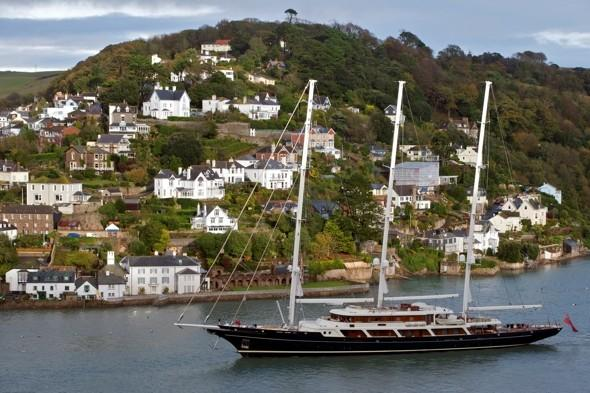 My boat's bigger than yours: World's largest yacht docks in Devon