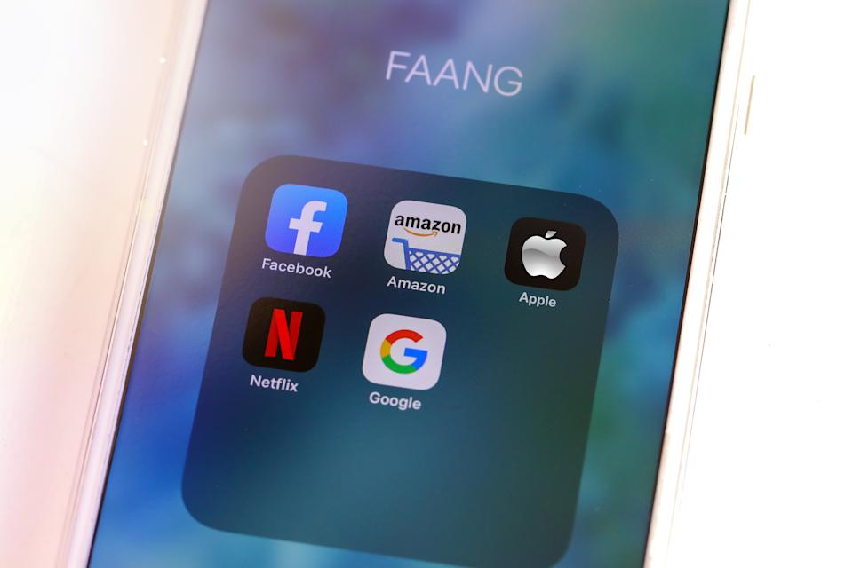 Tel Aviv, ISRAEL - May 28 2020 : FAANG Big Tech icons (Facebook, Amazon, Apple, Netflix & Google). FAANG is an acronym Of the 5 strong stocks in the Nasdaq technology stocks index. High quality photo